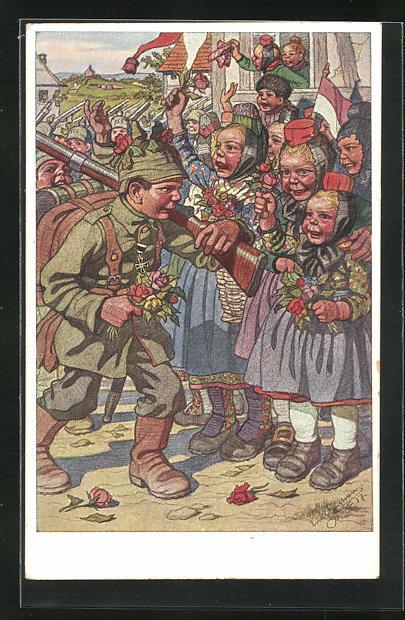 Künstler-AK Emil Beithan: Junge Hessinnen verabschieden ausrückende Soldaten