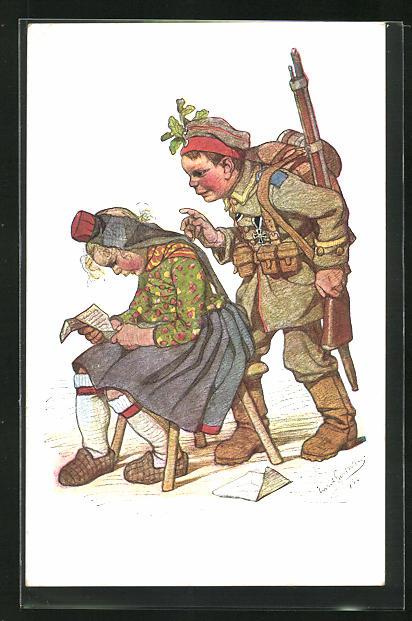 Künstler-AK Emil Beithan: Heimkehrender Soldat überrascht seine Liebste