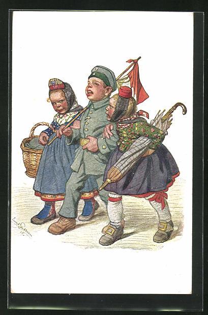 Künstler-AK Emil Beithan: Soldat beim fröhlichen Bummel mit zwei Hessenmädchen