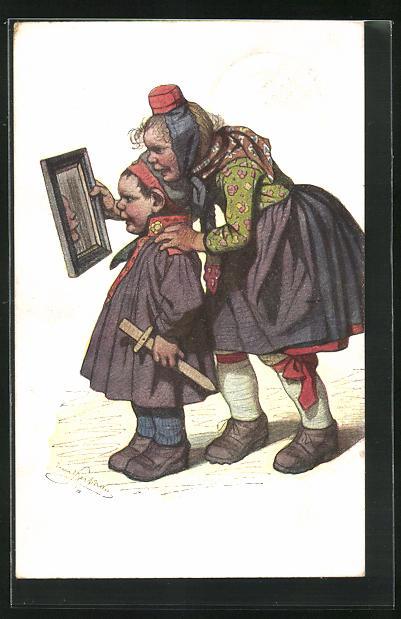Künstler-AK Emil Beithan: Kleiner Soldat betrachtet sich stolz im Spiegel