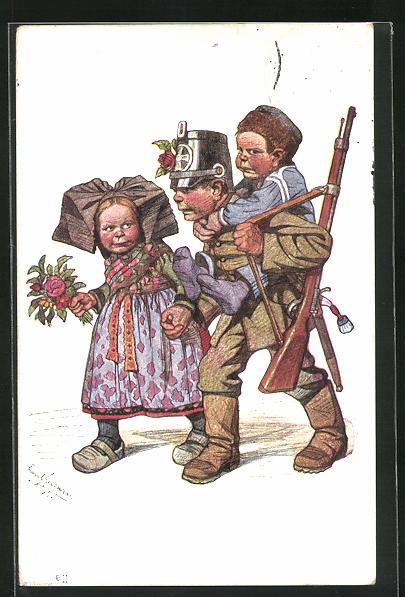 Künstler-AK Emil Beithan: Heimgekehrter Soldat mit der Familie