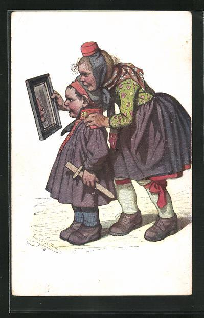 Künstler-AK Emil Beithan: Stolze Mutter mit ihrem kleinen Soldaten