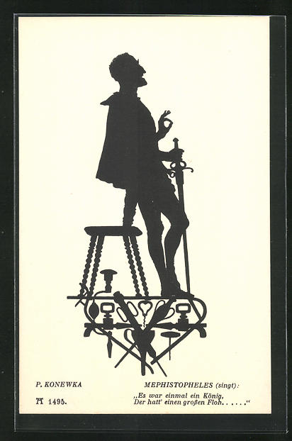 Künstler-AK Paul Konewka: Aus Goethes Faust, Mephistopheles singt