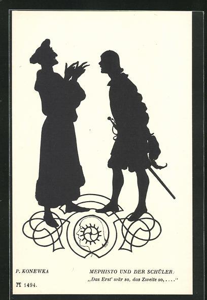 Künstler-AK Paul Konewka: Aus Goethes Faust, Mephisto und der Schüler