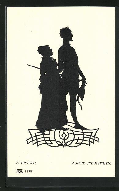 Künstler-AK Paul Konewka: Aus Goethes Faust, Marthe und Mephisto