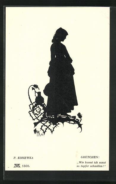 Künstler-AK Paul Konewka: Aus Goethes Faust, Gretchen