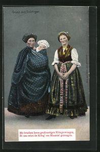 AK Zwei Frauen in thüringischer Tracht mit Kind