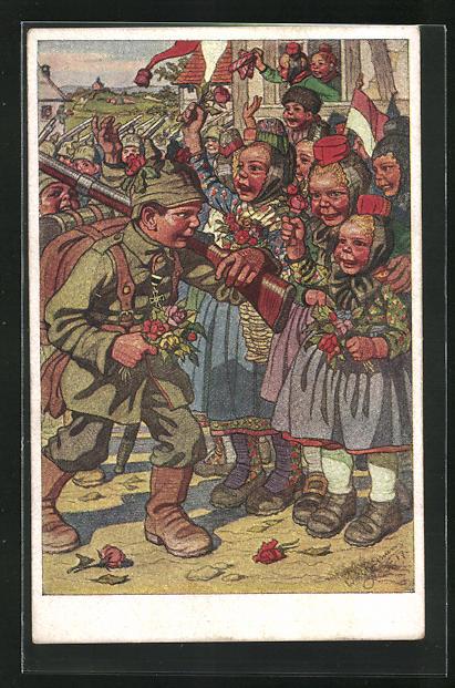 Künstler-AK Emil Beithan: Begeisterte Hessinnen verabschieden ihre ausrückenden Soldaten