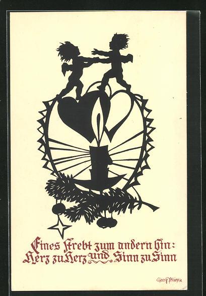 Künstler-AK Georg Plischke: Eines strebt zum andern hin: Herz zu Herz und Sinn zu Sinn