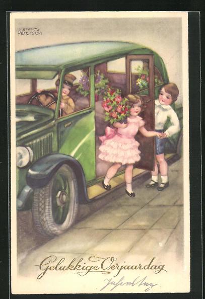 Künstler-AK Hannes Petersen: Gelukkige Verjaardag, Gratulant hilft einem Geburtstagskind aus dem Auto