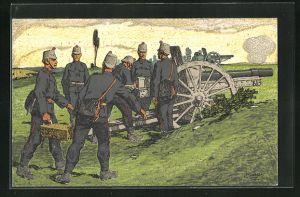 Künstler-AK Carl Moos: Schweizer Grenzbesetzung 1914, Artillerie