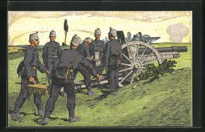 Künstler-AK Carl Moos: Schweizer Grenzbesetzung 1914, Artillerie in Stellung