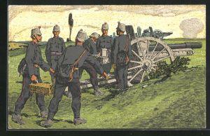 Künstler-AK Carl Moos: Schweizer Grenzbesetzung 1914, Artillerie in Feuerstellung