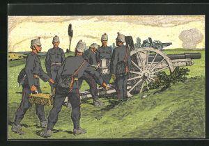 Künstler-AK Carl Moos: Schweizer Artillerie beladen Kanone