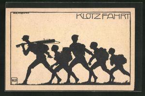 Künstler-AK K. Blossfeld: Schattenriss von Jungs auf Wanderschaft, Klotzfahrt