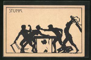 Künstler-AK K. Blossfeld: Schattenriss von prügelnden Jungs, Stunk