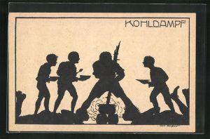 Künstler-AK K. Blossfeld: Schattenriss von Jungs beim Feuermachen, Kohldampf