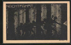 Künstler-AK K. Blossfeld: Schattenriss von Jungs im Wald, Nachtfahrt