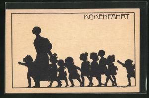 Künstler-AK K. Blossfeld: Schattenriss von Frau mit vielen kleinen Kindern, Kükenfahrt