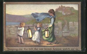 Künstler-AK S. Barham: Frau und kleine Mädchen mit Laternen bei starkem Wind