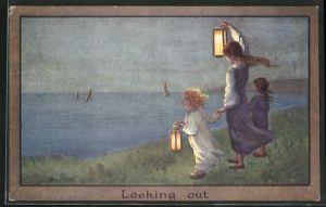 Künstler-AK S. Barham: kleine Mädchen mit Laternen an Küste blicken zu Schiffen, Looking out
