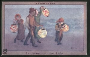 Künstler-AK S. Barham: Kinder mit Lampions an Küste, Lanterns on the Lido