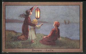 Künstler-AK S. Barham: drei Mächen an Ufer mit Laterne blicken zu Schiffen, Brown Sails