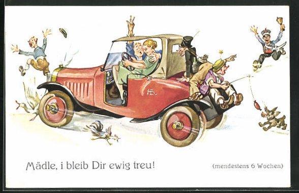 Künstler-AK Hans Boettcher: Frau am Steuer mit Mann fährt alles um, Mädle i bleib dir ewig treu
