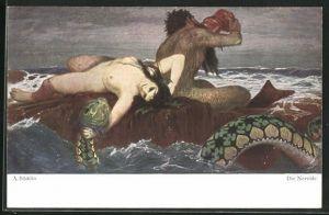 Künstler-AK Arnold Böcklin: Die Nereide, nackte Frau auf Felsen mit Wassermann u. Seeschlange