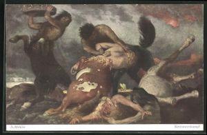 Künstler-AK Arnold Böcklin: Kentaurenkampf, Pferdemenschen kämpfen miteinander