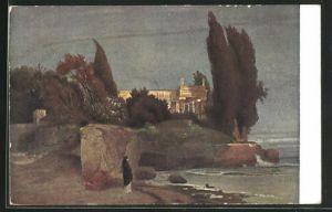 Künstler-AK Arnold Böcklin: Die Villa am Meer, Abendstimmung