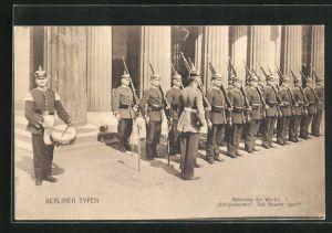 AK Berliner Typen, Ablösung der Wache, Stillgestanden! Das Gewehr über!, Soldaten in Uniformen mit Gewehren