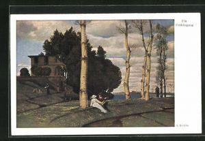 Künstler-AK Arnold Böcklin: Ein Frühlingstag