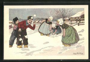 Künstler-AK Georg Mühlberg: Niederländische Kinder mit Holzschuhen im Winter bei einer Schneeballschlacht