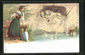 Lithographie Luzernerin beim Löwendenkmal