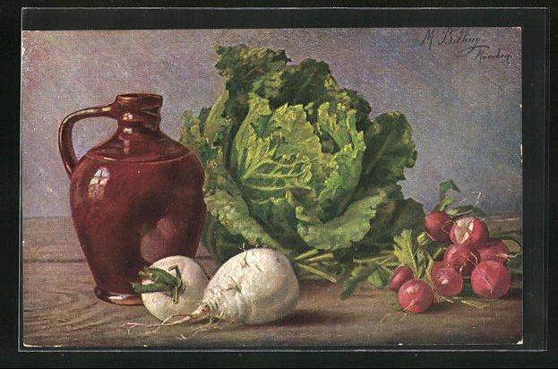 Künstler-AK M. Billing: Stilleben mit Rettich, Salat und Radieschen