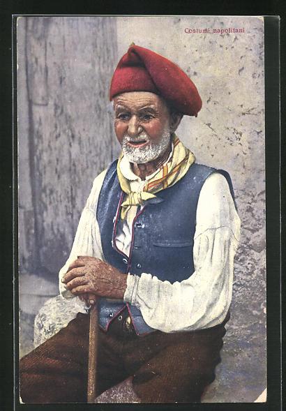 AK Costumi napolitani, greiser Neapolitaner in Tracht