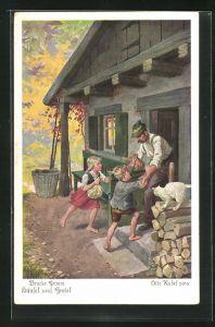 Künstler-AK Otto Kubel: Brüder Grimm, Hänsel und Gretel, 6. Bald darauf verliessen Hänsel und Gretel das Hexenhaus...