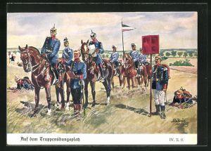 Künstler-AK Döbrich-Steglitz: Auf dem Truppenübungsplatz, IV. Armee Korps, Husaren, Ulanen, etc.