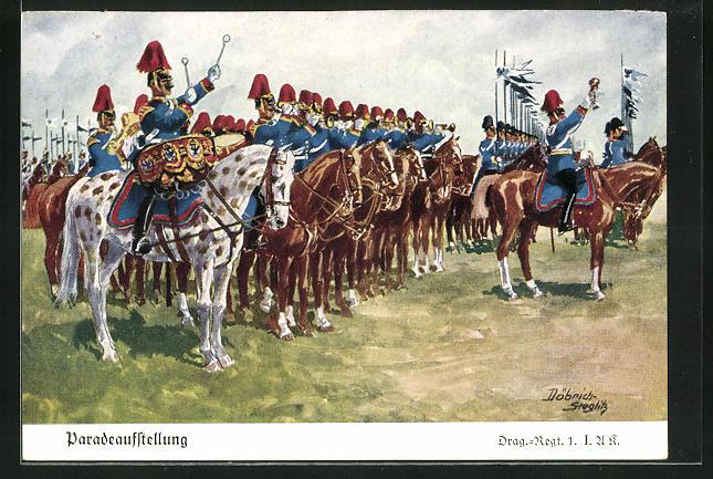 Künstler-AK Döbrich-Steglitz: Paradeaufstellung, Drag.-Regt. 1