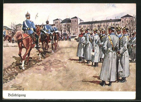 Künstler-AK Döbrich-Steglitz: Besichtigung, Deutsche Armee
