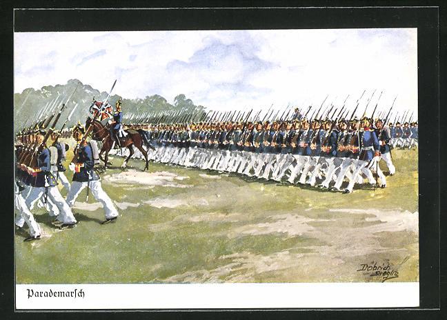 Künstler-AK Döbrich-Steglitz: Parademarsch, Infanterie