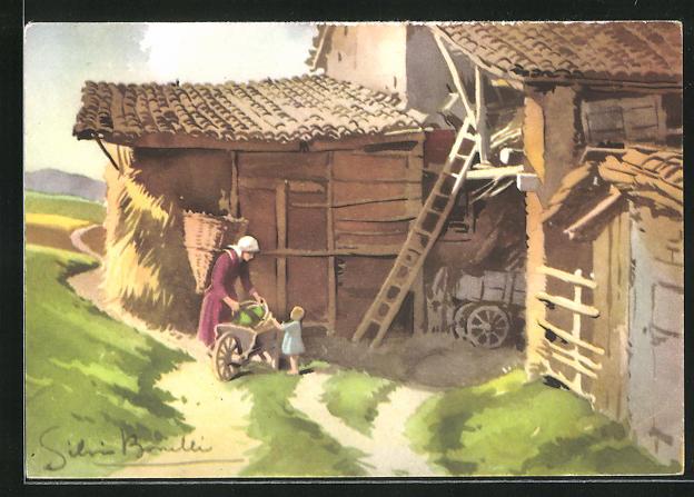 Künstler-AK S. Bonelli: Landidyll mit Schubkarre