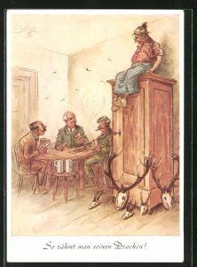 Künstler-AK Heinz Geilfus: So zähmt man seinen Drachen, Männer bei Kartenspiel und garstiges Weib im Abseits