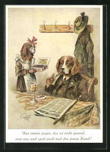 Künstler-AK Heinz Geilfus: Nur immer jagen, das ist nicht gesund..., Jagdhund bei Zigarre und Wein