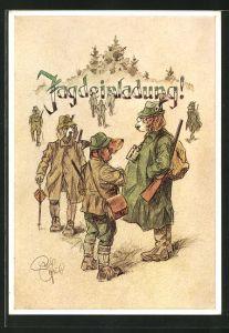 Künstler-AK Heinz Geilfus: Jagdeinladung!, menschliche Jagdhunde