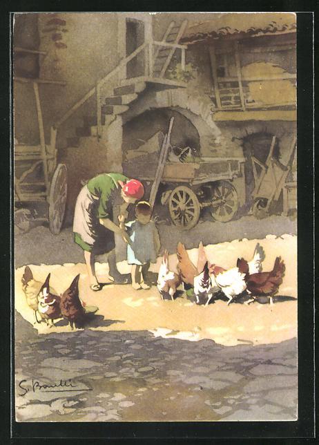 Künstler-AK S. Bonelli: Landidyll, Mutter mit Kind und Hühner