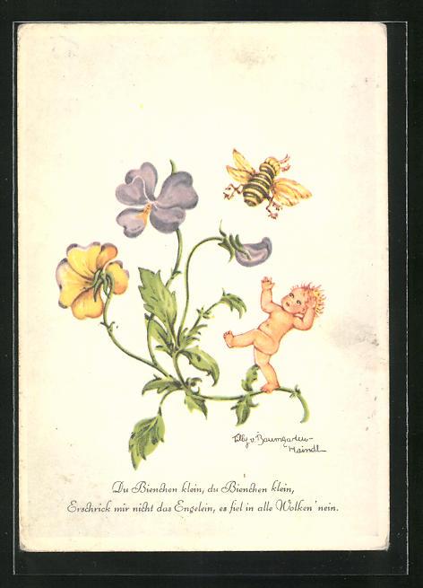 Künstler-AK Tilly von Baumgarten: Du Bienchen klein, du Bienchen klein, erschrick mir nicht das Engelein
