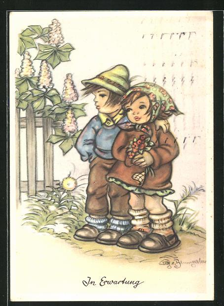 Künstler-AK Tilly von Baumgarten: In Erwartung, kleines Paar