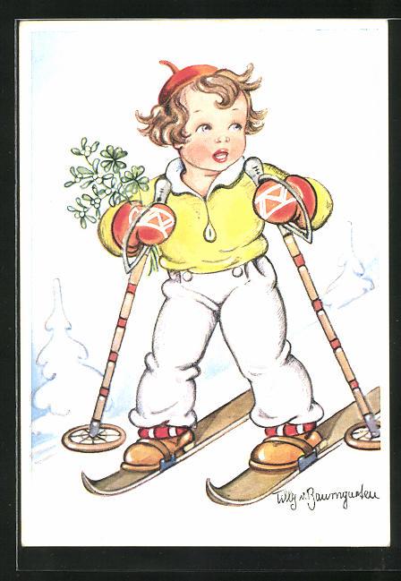 Künstler-AK Tilly von Baumgarten: kleiner Skiläufer